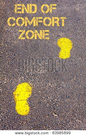Yellow Footsteps On Sidewalk Towards End Of Comfort Zone Message