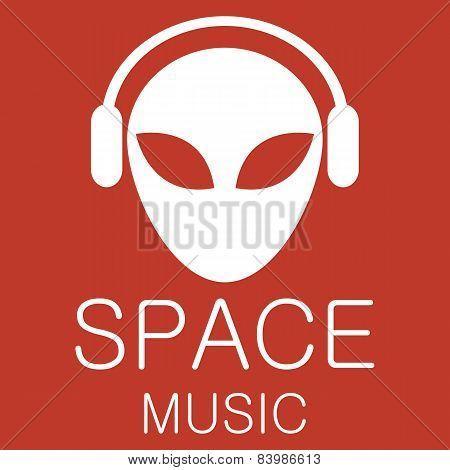 Vector alien in headphones on red background