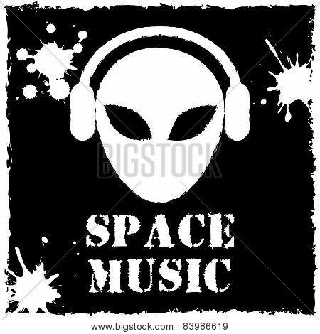 Vector alien space music logo on black background