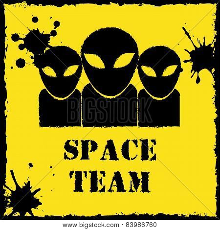 Vector alien space team logo on yellow background