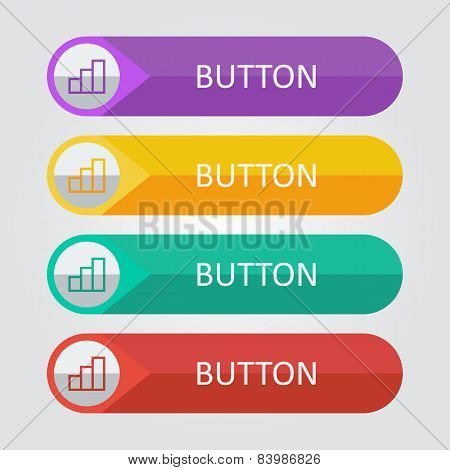 Vector flat buttons with statistic icon
