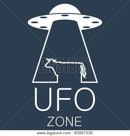 Vector ufo zone logo on blue background