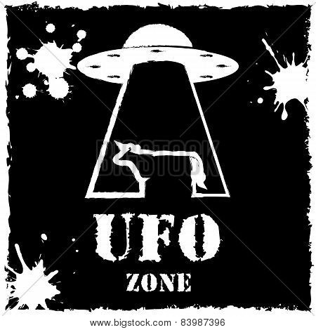 Vector ufo zone cow logo on black background