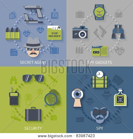 Spy gadgets 4 flat icons composition