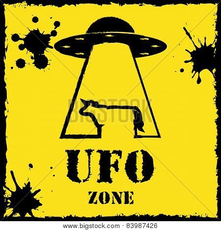 Vector ufo zone cow logo on yellow background