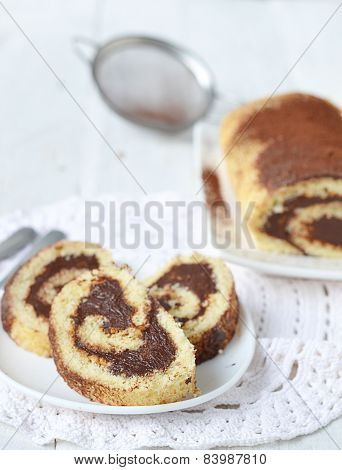 Sponge Roulade With Chocolate Cream