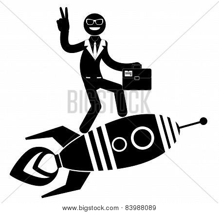 Businessman on a rocket pointing and showing directions.
