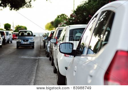 line of parked cars