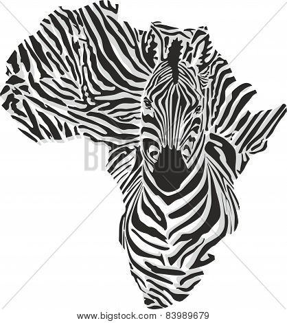 Map of Africa with the head of giraffe