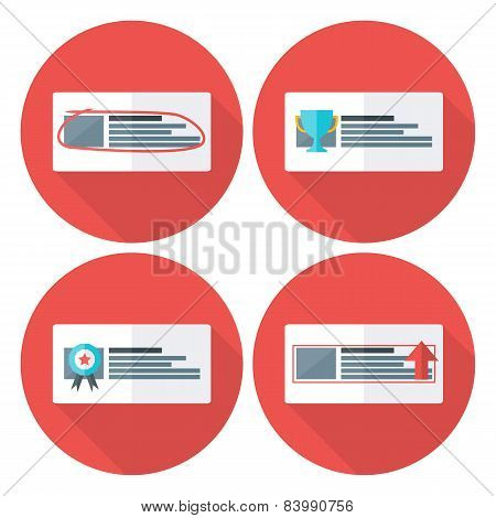 Advert Flat Circle Icons Set With Long Shadow