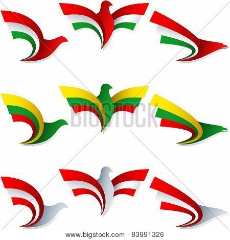 Bird Fly Flag Sign Symbol Insignia Hungary Lithuania Austria