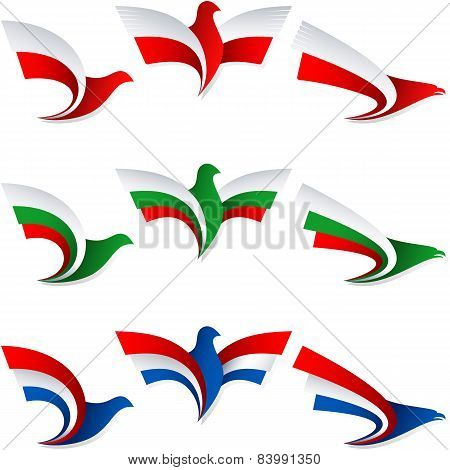 Bird Fly Flag Sign Symbol Insignia Poland Bulgaria Netherlands Holland