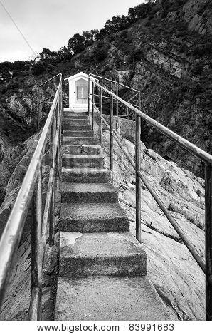 Christian votive chapel. Black and white photo