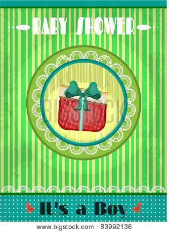 Baby shower - its a boy, green striped background