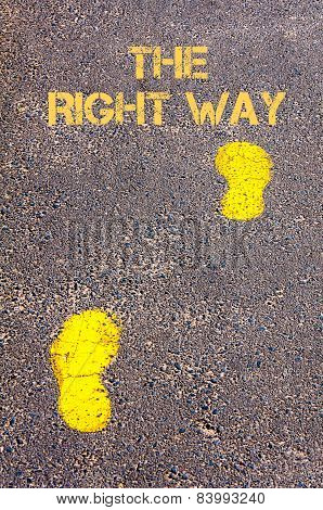 Yellow Footsteps On Sidewalk Towards The Right Way Message