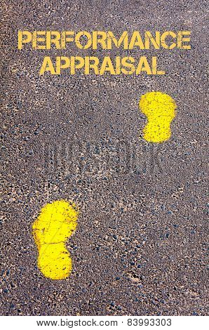 Yellow Footsteps On Sidewalk Towards Performance Appraisal Message