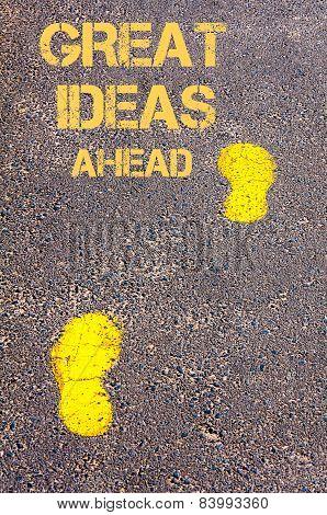 Yellow Footsteps On Sidewalk Towards Great Ideas Ahead Message