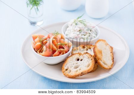 Smoked Wild Salmon, Baguette And Soft Cheese Spread With Herbs