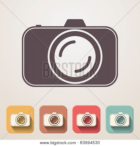 Professional Photocamera Flat Icons Set Fadding Shadow Effect