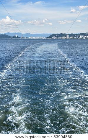 Boat Trail In The Sea, City Of Santos