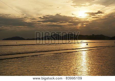 Sunset Of Santos Beach, In Sao Paulo