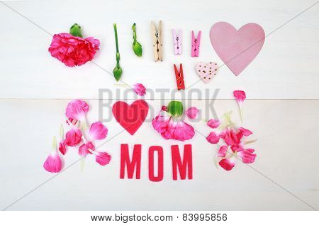 Mom Text With Clothespins And Carnations