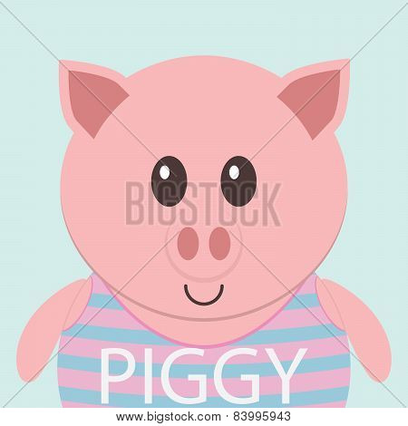 Cute Piggy Cartoon Flat Icon Avatar