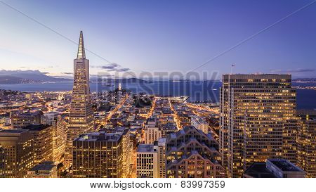 San Francisco Financial District Aerial View