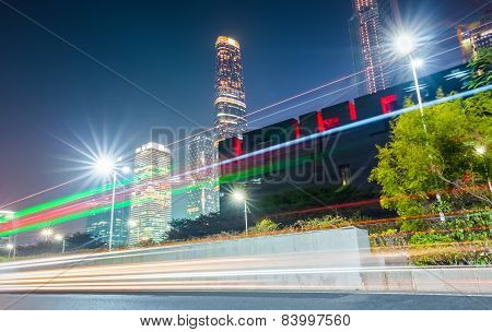 Guangzhou At Night With Light Trails