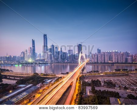 Cityscape Of Guangzhou In Nightfall
