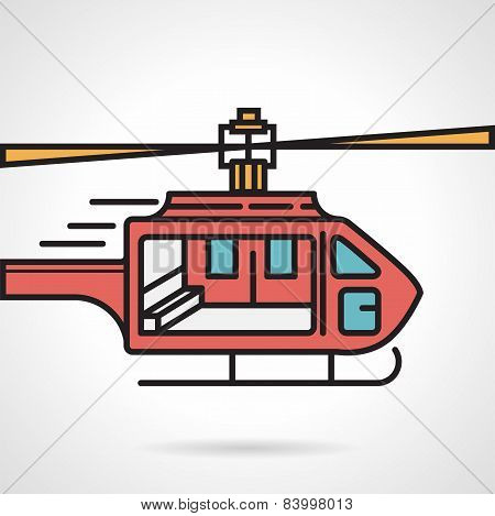 Flat vector icon for red helicopter