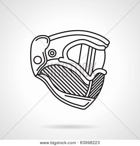 Paintball helmet flat line vector icon