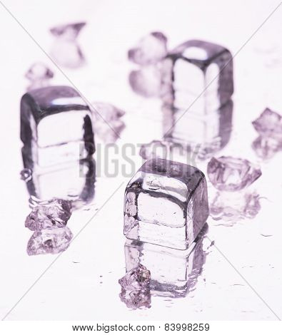 Different Fake Ice Cubes With Water Drops