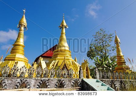 Three Gilded Sharp Pagoda