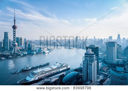 Aerial View Of Huangpu River