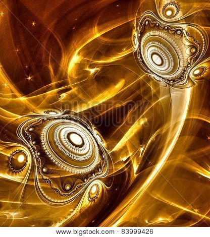 Abstract Fractal background cosmic light spheres planet in gold colors