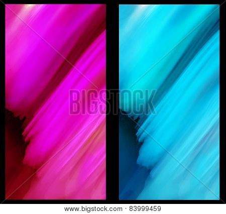 Two Abstract Fractal vertical backgrounds in blue and magenta