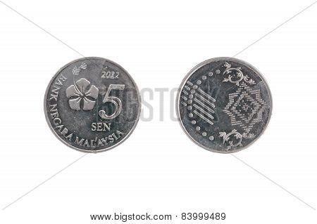 Five Malaysia Cents Coin