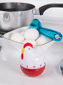 picture of boil  - Kitchen tools for boiling eggs on stove - JPG