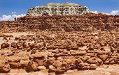 stock photo of hoodoo  - Blue Moutain Mushroom Shaped Hoodoos Goblin Valley State Park Rock Canyon San Rafael Desert Utah USA Southwest - JPG