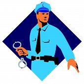 stock photo of policeman  - vector illustration of a policeman police officer with handcuffs set inside diamond shape in isolated white background - JPG