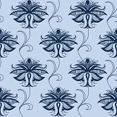 stock photo of indian blue  - Indian paisley seamless pattern in shades of blue with elegant lace flowers decorated swirls suited for oriental style fabric design - JPG
