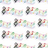 foto of treble clef  - Seamless colorful curved staves - JPG