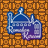 image of ramadan mubarak card  - Greeting card design for muslim holy month of Ramadan Mubarak with silhouette of mosque and wishes Ramadan Kareem on seamless arabic arabesque background - JPG