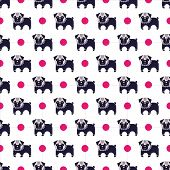 stock photo of rabies  - Seamless pattern with pug and bone vector background - JPG