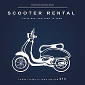 stock photo of scooter  - Vintage illustration with a retro scooter for your business - JPG