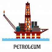 picture of offshore  - Petroleum industry flat concept showing oil offshore platform on hull columns in the ocean with derrick - JPG