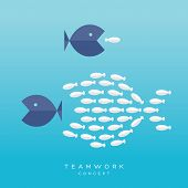 image of fish  - Teamwork Concept Illustration with Big Fish chasing Small fish and Fish group chasing Big fish - JPG