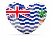 stock photo of indian flag  - Heart shaped icon with flag of british indian ocean territory isolated on white - JPG