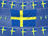 picture of sweden flag  - Illustrated flag of Sweden with bunting and a sky background - JPG